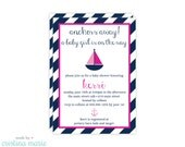 nautical girl baby shower, set of 15 invitations, personalized invitations, printable file also available