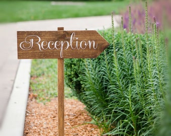 Wood Reception Sign |  Wooden Wedding Sign | Arrow Sign | Directional Sign | Wedding Decor | Wedding Signs  | Wedding Reception - WS-106