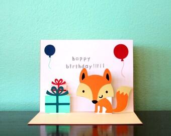 Pop Up Card - Fox - Happy Birthday
