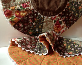 Vintage Quilted Place Mats - 1970's  Quilted Fabric  - Vintage Placemats - Table for Two