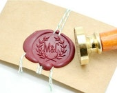 B20 Wax Seal Stamp Personalized Wedding Custom Initials with Olive Branch Wreath