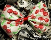 Cherry Print on White with Tulle Overlay Hair Bow by Charlie Heartbreaker