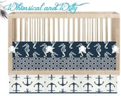 "Custom Crib Bedding ""Sail Away""- Navy Blue, Seahorses, Anchors - Made to Order - Customizable - Neutral Bedding - Bumper, Crib Skirt, Sheet - WHIMSICALandWITTY"
