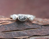 Rough Diamond Ring Sterling Silver Black Diamond Raw Diamond Engagement Ring Size 7 1/2 Silversmithed Metalsmithed