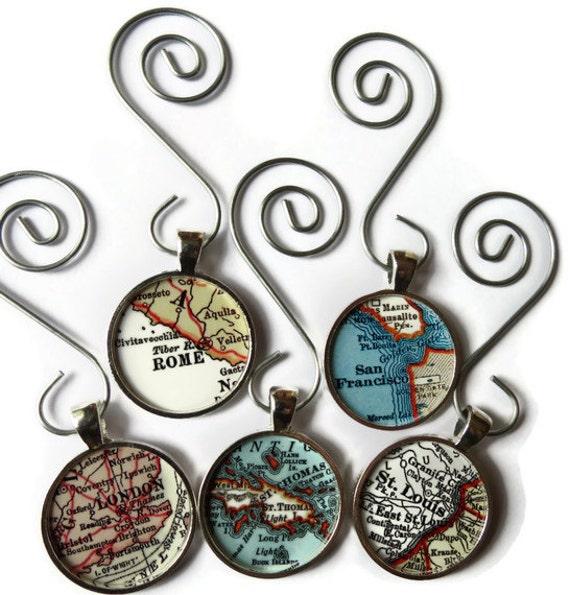 Custom map ornament personalized map ornaments christmas for Customized photo christmas ornaments