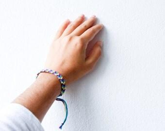 Friendship Bracelet Purple, Turquoise and Yellow Chevron Cord Knotted Fiber stocking stuffer