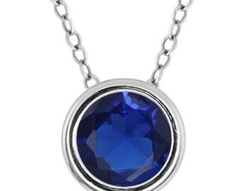 1 Carat Blue Sapphire Round Bezel Pendant .925 Sterling Silver Rhodium Finish