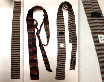 2 ERNST SQUARE END Straight Bottom Silk Skinny Necktie Tie Striped All Silk Vintage Rockabilly Alexander Girard Eames Herman Miller era Ties