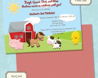 Farm Animals / Petting Zoo Birthday Invitation - Printable Digital File (Print Your Own)