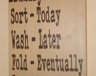 Laundry Schedule, Laundry Room Decor, Laundry Sign, Distressed Wood Signs, Wood Signage, Distressed Wall Decor - 12x17