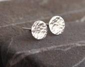 Silver Stud Earring, studs sterling silver earrings, hammered silver earrings handmade by arc jewellery UK