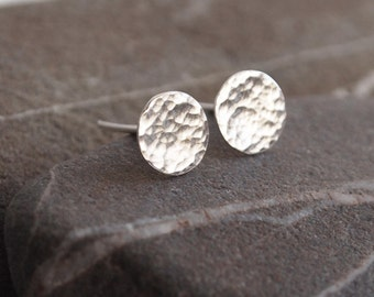Round silver earrings, studs sterling silver earrings, hammered silver earrings handmade by arc jewellery UK