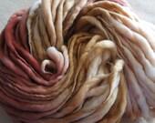 SALE: Handspun Yarn, Thick and Thin Yarn, French Merino Art Yarn, knitting supplies crochet supplies, thick n thin, Shade of Brown