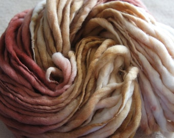 SALE: Handspun Yarn, Thick and Thin Yarn, French Merino Art Yarn, knitting supplies crochet supplies, thick n thin, Shade of Brown