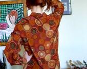 Halston Silk Blouse Vortex Vintage 1980s Eighties Mid Century Atomic Look 1950s