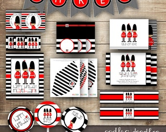 London Themed Birthday PARTY PACKAGE / 1st  2nd  3rd Boy's Birthday Kit / The Little Londoner Party Package / Red Black & White  - Printable