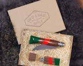 """SALE - Knife and Flash Drive Gift Set: Folding Knife and Matching USB Drive in Woodland Green and Coral, """"The Whiskey & The Echo"""""""