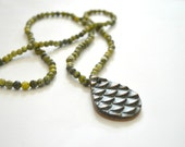 RESERVED-Fish Scale Clay Pendant on Yellow Turquoise Stone Beads