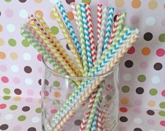 Paper Straws - Chevron Rainbow Party Straws, Rainbow Party Decor, Candy Shop Party Decor, Candy Buffet, Rainbow Party Decor, Candyland