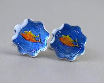 Cufflinks Coins Fish blue coin.Maldives Islands