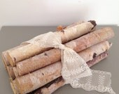 Bundle of Birch Tied With Lace Ribbon