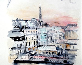 Paris Illustration Print from Original Watercolor - Travel Art Painting - Lana Moes Collection of Wonderlust