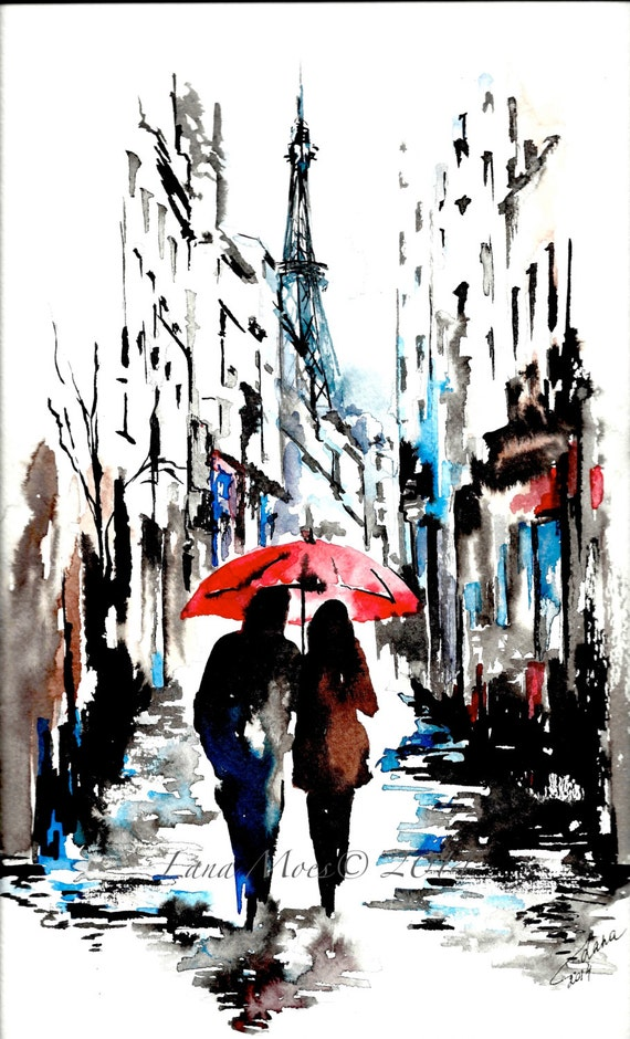 Watercolor Print from Original Watercolor Illustration - Travel Paris Red Umbrella Watercolor Painting