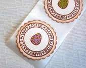 Easter Egg Stickers/ Envelope Seals -Set of 12 (Happy Easter w/ Hand-colored Eggs- for favors, invitations, cards, gift wrap)