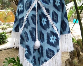 Vtg Mexican Poncho - Fringed Crochet Panels - Turquoise Blue - Medium/Large