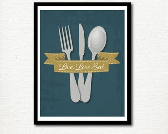 Home Decor Print: Live Love Eat - Quote - Kitchen Print - For The Home - Wall Art - Baking - Cooking - Digital