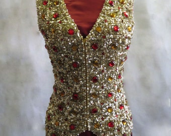 Vintage 1960s Valentina beaded and sequined wool top