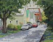 "Original Pastel Landscape Painting - ""Parade Watchers"" by Colette Savage"