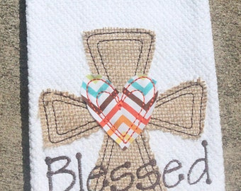Personalized Blessed Raggy Thanksgiving Burlap Cross Kitchen Towel