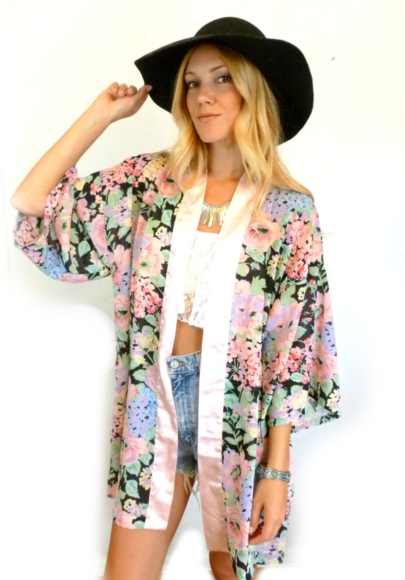 Black and Pink Floral KIMONO Jacket Robe BOHO Women's