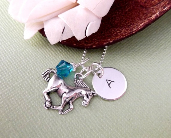 Horse Necklace With Initial Charm and Birthstone- Hand Stamped Charm Necklace- Children's Jewelry- Horse Charm Necklace
