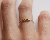 Gold Minimalist Ring, Gold Nuggets Ring, Simple Chain Ring, Thin Ring, Delicate Ring