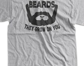 Funny Beard T-Shirt Beards They Grow On You T-Shirt Screen Printed T-Shirt  Mens Womens Ladies Youth Kids Geek Funny