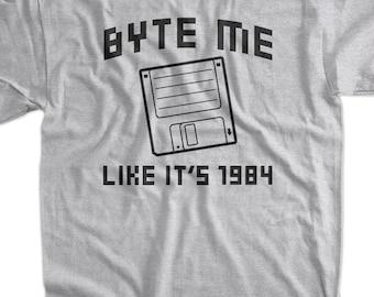 Funny Computer T-Shirt - Byte Me Tee Shirt T Shirt Geek Retro Computer Mens Ladies Womens Youth Kids