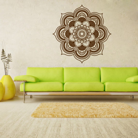 Living Room Yoga Studio Coogee: Large Bohemian Flower Mandala Decal For Living By