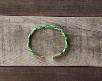 BRZN Bullet Casing Bracelet Toxic Camo recycled .22lr shells neon yellow green black camo 550 paracord wire men women