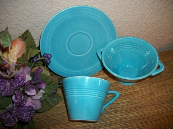 Aqua Teal Blue Ceramic Breakfast Dishes Snack Set Coffee Tea Cup Saucer Berry or Cereal Bowl Art Deco Tableware  Mothers Day Gift