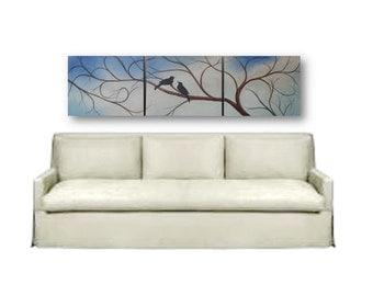 Canvas art Extra Large painting love birds black birds original wall art 60x16 high Tree, Love Birds elegant tree original painting