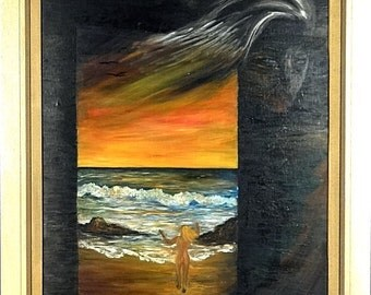 Rare ca.1960 Dreaming Girl at the Beach Surrealist Painting Oil/Canvas w/Frame Signed
