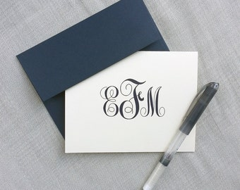 Personalized Stationery - Monogram - Folded Notecard Gift Set - Personalized Stationary