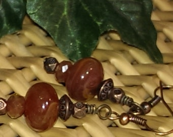 Vintage amber Lucite and copper beaded earrings