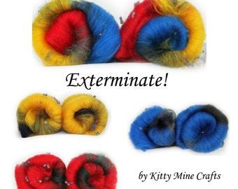 Wool & Bamboo Batt inspired by Doctor Who - Exterminate! - Spinning, Felting - Phat Fiber - Batt, Roving - Merino Wool, Bamboo - Dalek