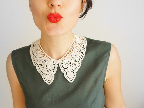 COLLAR // Marcella // Handmade Ivory Cotton Lace Collar