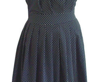 50s dress with pleated skirt in blue with white dots