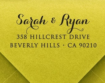 Calligraphy Stamp - pre inked stamp, pre inked custom address stamp, return address stamp, rsvp address stamp - calligraphy b5-41
