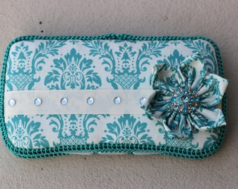 50 Shades of Blue Damask Boutique Wipe Case, Diaper Bag Accessory